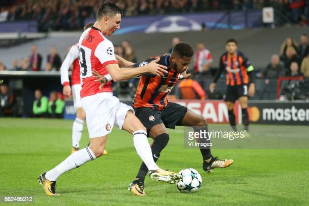 Steven Berghuis of Feyenoord Fred of FC Shakhtar Donetsk during the UEFA Champions League group F match between Feyenoord Rotterdam and Shakhtar...