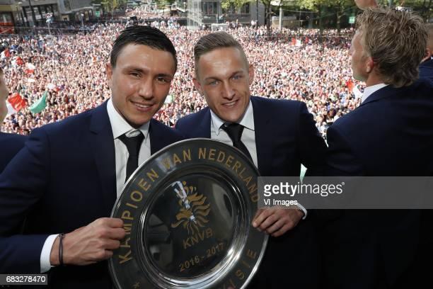 Steven Berghuis of Feyenoord Jens Toornstra of Feyenoord Dirk Kuyt of Feyenoord with tropheeduring Feyenoord Rotterdam honored Eredivisie champions...