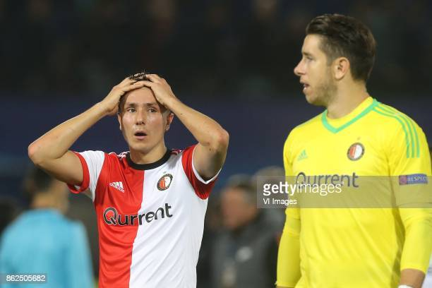 Steven Berghuis of Feyenoord keeper Brad Jones of Feyenoord during the UEFA Champions League group F match between Feyenoord Rotterdam and Shakhtar...