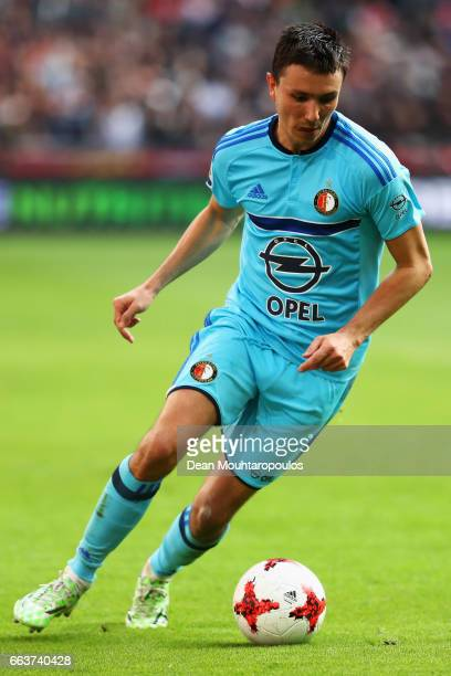Steven Berghuis of Feyenoord Rotterdam in action during the Dutch Eredivisie match between Ajax Amsterdam and Feyenoord at Amsterdam ArenA on April 2...