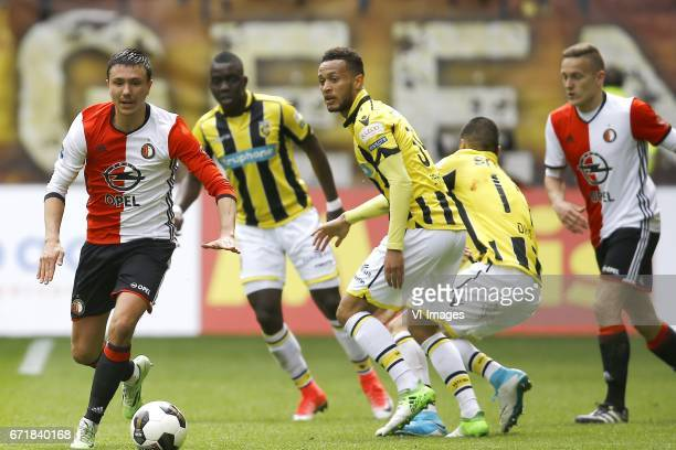 Steven Berghuis of Feyenoord Rotterdam Lewis Baker of Vitesse Arnhemduring the Dutch Eredivisie match between Vitesse Arnhem and Feyenoord Rotterdam...