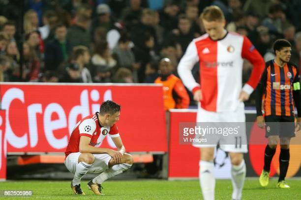 Steven Berghuis of Feyenoord Sam Larsson of Feyenoord during the UEFA Champions League group F match between Feyenoord Rotterdam and Shakhtar Donetsk...
