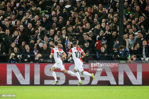 Steven Berghuis of Feyenoord Tonny Vilhena of Feyenoord during the UEFA Champions League group F match between Feyenoord Rotterdam and Shakhtar...