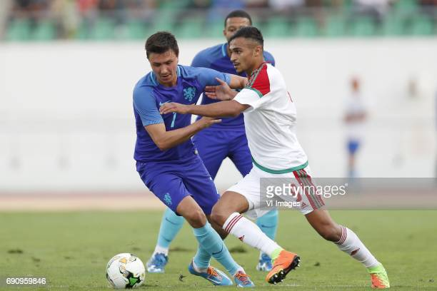 Steven Berghuis of Holland Memphis Depay of Holland Sofiane Boufal of Moroccoduring the friendly match between Morocco and The Netherlands at Grand...