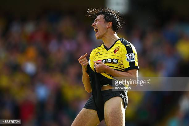 Steven Berghuis of Watford celebrates after the Barclays Premier League match between Watford and Swansea City at Vicarage Road on September 12 2015...