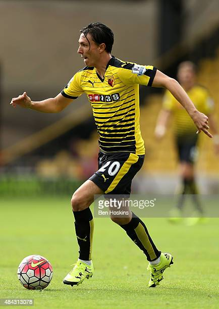 Steven Berghuis of Watford in action during the Barclays Premier League match between Watford and West Bromwich Albion on August 15 2015 in Watford...