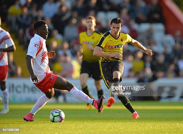 Steven Berghuis of Watford passes the ball during the PreSeason Friendly match between Stevenage and Watford at The Lamex Stadium on July 14 2016 in...