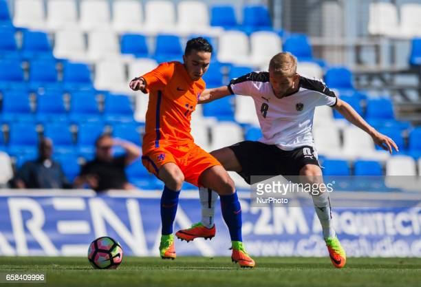 Steven Bergwijn Konrad Laimer during the friendly match of national teams U21 of Austria vs The Netherlands in Pinatar Arena Murcia SPAIN March 27th...