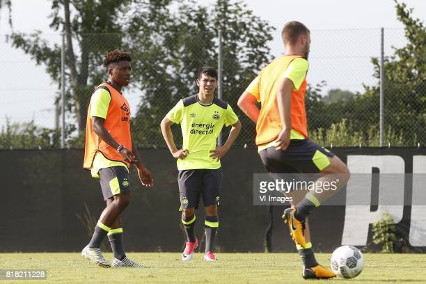 Steven Bergwijn of PSV Hirving Lozano of PSV during the preseason summer training camp of PSV Eindhoven at Stade StMarc on July 18 2017 in Bagnes...