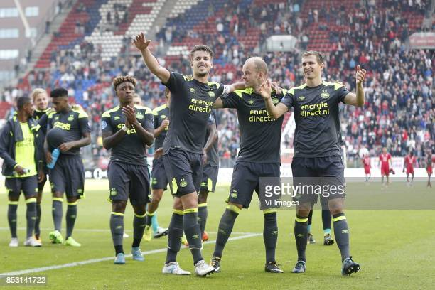 Steven Bergwijn of PSV Marco van Ginkel of PSV Jorrit Hendrix of PSV Daniel Schwaab of PSV during the Dutch Eredivisie match between FC Utrecht and...