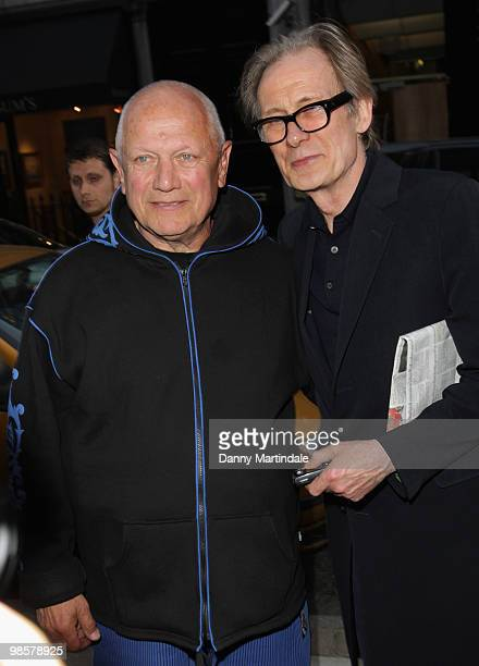 Steven Berkoff and Bill Nighy attend the private view of the Soho Lights exhibition on April 20 2010 in London England
