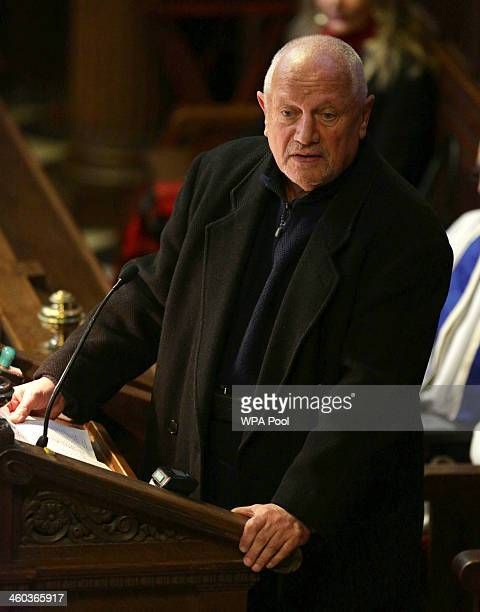 Steven Berkoff speaks during the funeral service of Ronnie Biggs during the funeral for the 'Great Train Robber' Ronnie Biggs at Golders Green...