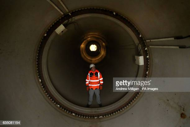 Steven Berry Scottish Canals head of operational delivery views the inside of the main axle tube at the Falkirk Wheel as the second phase of winter...