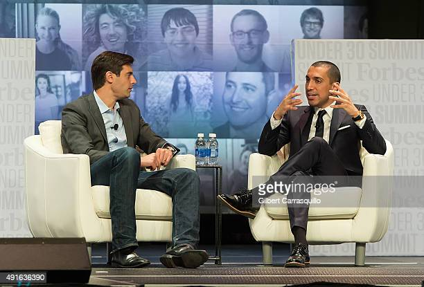 Steven Bertoni Senior Editor Forbes Media and Sean Rad Founder CEO Tinder attend the Forbes Under 30 Summit at Pennsylvania Convention Center on...