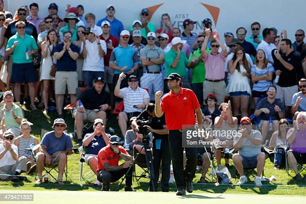 Steven Bowditch of Australia celebrates a birdie putt on the 17th hole during the Final Round of the ATT Byron Nelson at the TPC Four Seasons Resort...