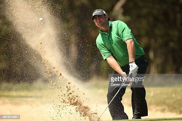 Steven Bowditch plays his shot on the 6th during the Final Round of the Valero Texas Open at TPC San Antonio ATT Oaks Course on March 30 2014 in San...