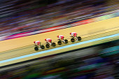 Steven Burke Ed Clancy Andy Tennant and Bradley Wiggins of England compete in Men's 4000 metres Team Pursuit qualification at Sir Chris Hoy Velodrome...