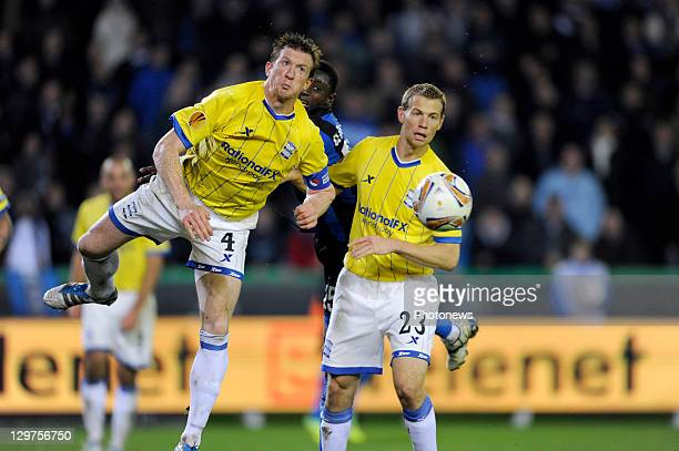 Steven Caldwell of Birmingham City FC and Jonathan Spector of Birmingham City FC and Joseph Akpala of Club Brugge KV pictured during the UEFA Europa...