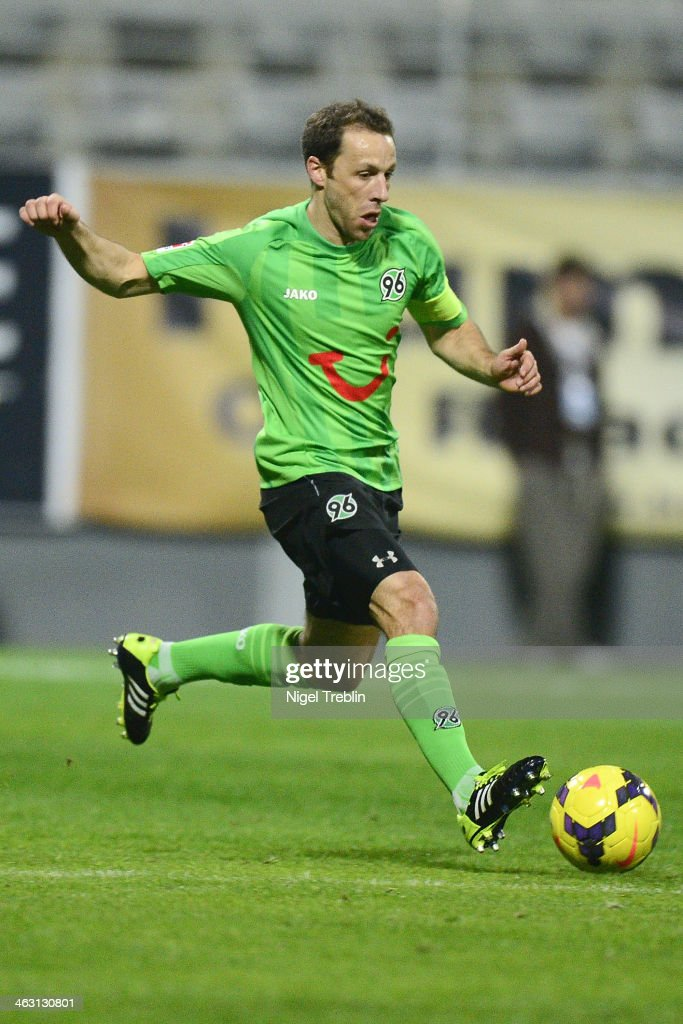 Steven Cherundolo of Hannover plays the ball during the friendly match between Fenerbahce SK and Hannover 96 at Mardan stadium on January 16 2014 in...