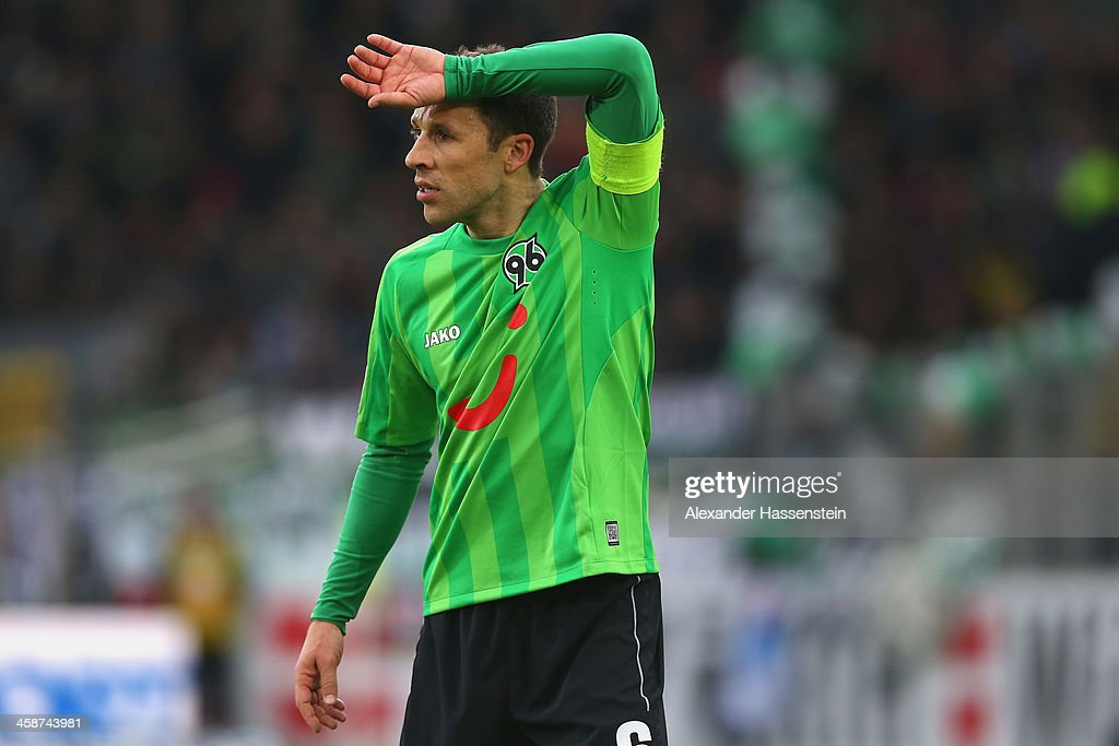 Steven Cherundolo of Hannover reacts during the Bundesliga match between SC Freiburg and Hannover 96 at MAGE SOLAR Stadium on December 21 2013 in...