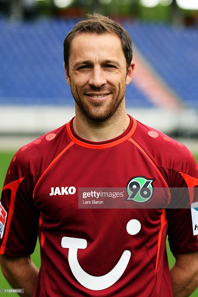 Steven Cherundolo poses during the Hannover 96 team presentation at HDI Arena on July 11 2013 in Hanover Germany
