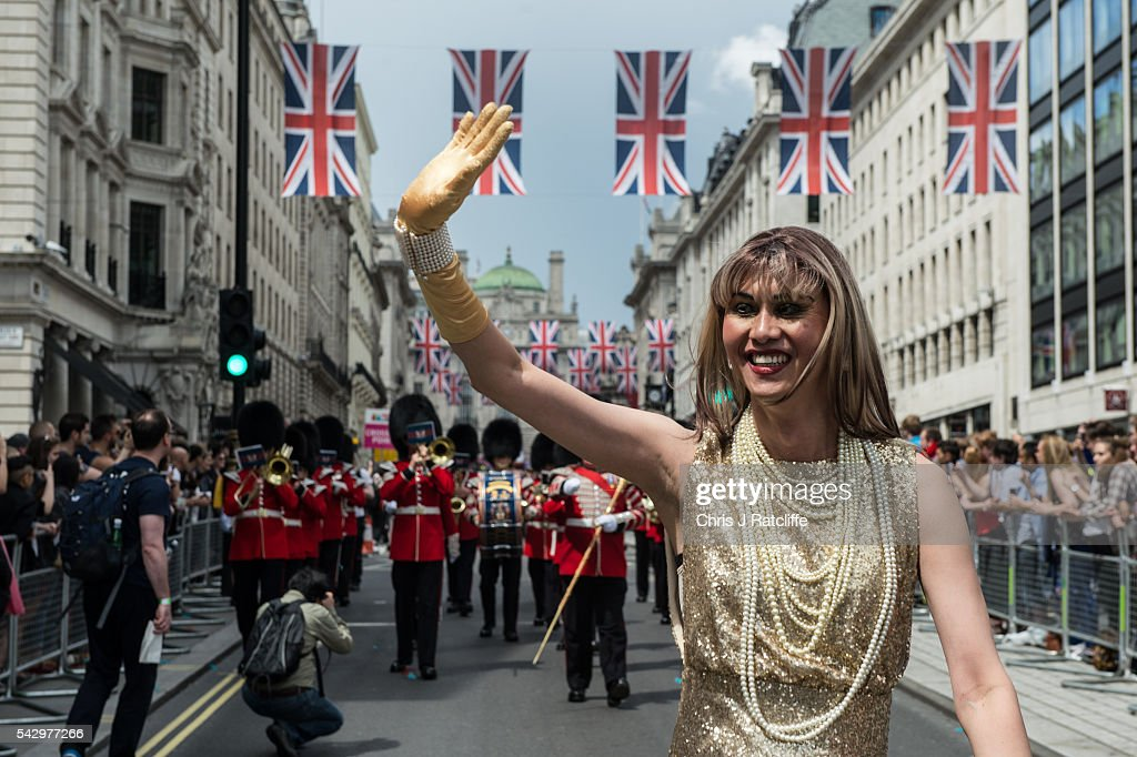 Steven Choo, aka 'Eva' walks in front of a marching band as the LGBT community celebrates Pride in London on June 25, 2016 in London, England. Across the city performances and speeches take place as a parade makes it way through the centre ending in Trafalgar Square. 2016 Pride in London comes just two weeks after Omar Mateen shot dead 50 people at Pulse, a gay nightclub in Orlando, Florida.