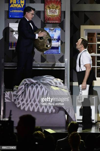 Steven Colbert and Kevin Spacey at THE 71st ANNUAL TONY AWARDS broadcast live from Radio City Music Hall in New York City on Sunday June 11 2017 on...