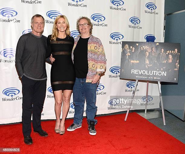 Steven Collins Elizabeth Mitchell and Rockne S O'Bannon attend the Revolution press line at WonderCon Anaheim 2014 Day 1 at Anaheim Convention Center...