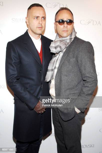 Steven Cox and Daniel Silver attend CFDA Awards Nominee Announcement Cocktail Party Hosted by SWAROVSKI at The Rooftop Gardens at Rockefeller Center...