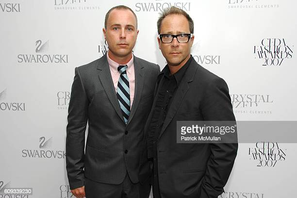 Steven Cox and Daniel Silver attend Swarovski CFDA Nominee Honoree Dinner at Top of the Rock at Rockefeller Center on June 3 2007 in New York City