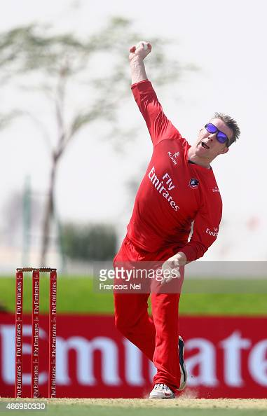 Steven Croft of Lancashire bowls during the Emirates Airline T20 Cup match between Lancashire and Yorkshire at the Sevens Stadium on March 20 2015 in...