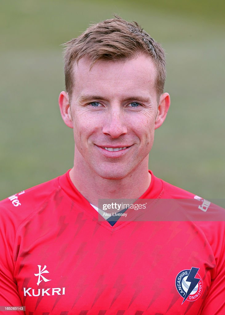 Steven Croft of Lancashire CCC wears the T20 kit during a pre-season photocall at Old Trafford on April 2, 2013 in Manchester, England.