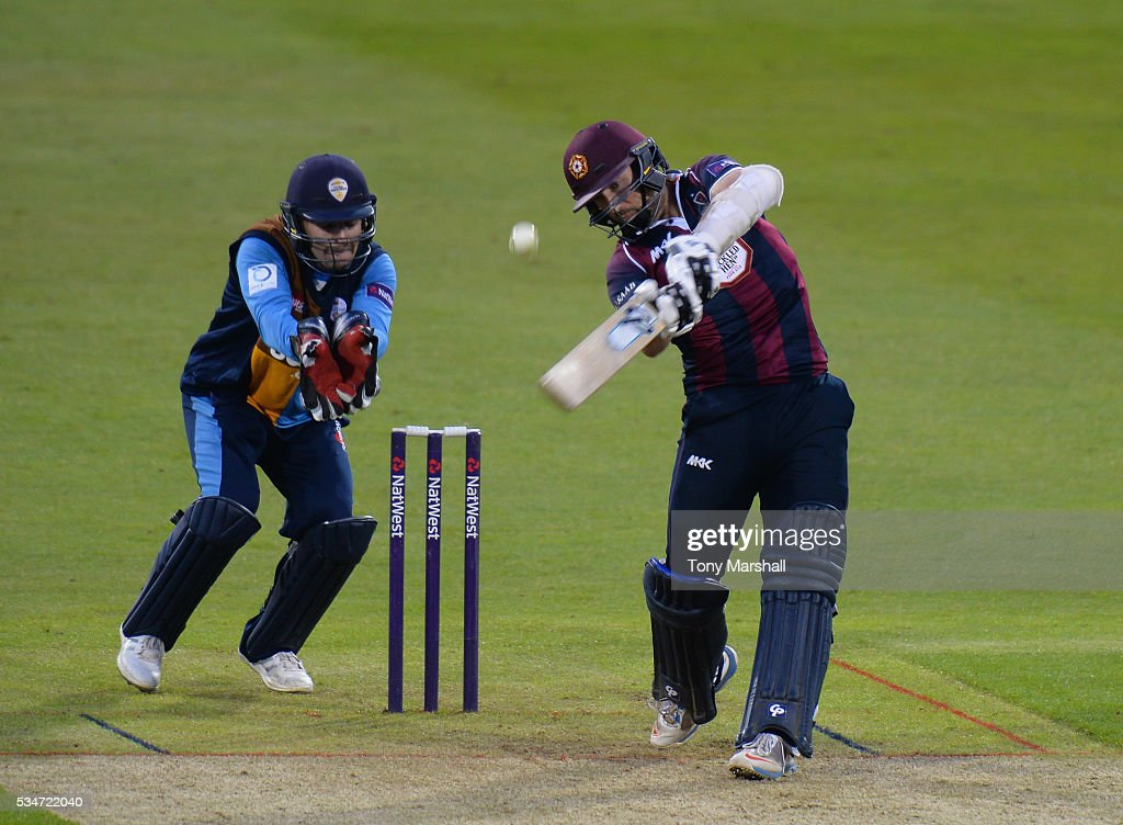 Steven Crook of Northamptonshire bats during the NatWest T20 Blast match between Northamptonshire and Derbyshire at The County Ground on May 27, 2016 in Northampton, England.
