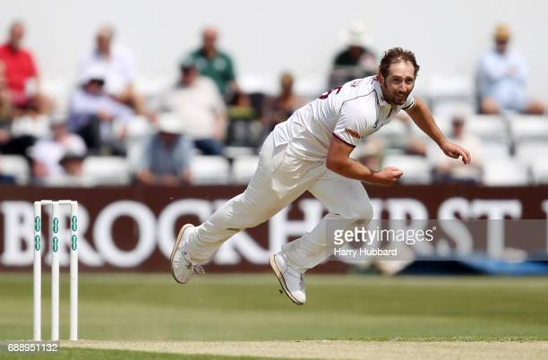 Steven Crook of Northamptonshire bowls during the Specsavers County Championship division two match between Northamptonshire and Worcestershire at...