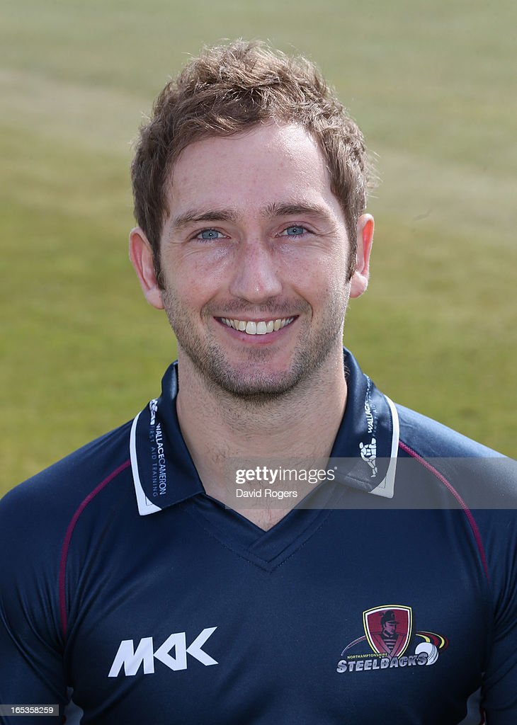 Steven Crook of Northamptonshire CCC poses for a portrait wearing the T20 kit at the County Ground on April 3, 2013 in Northampton, England.