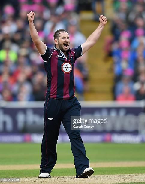 Steven Crook of Northamptonshire celebrates dismissing Steven Mullaney of Nottinghamshire during the NatWest t20 Blast Semi Final between...