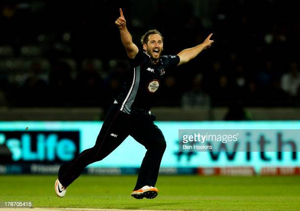 Steven Crook of Northamptonshire celebrates taking a wicket during The Friends Life T20 final between the Surrey Lions and the Northamptonshire...