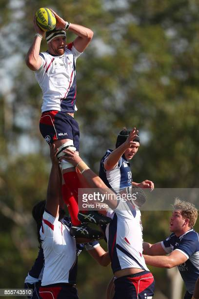 Steven Cummins of Melbourne Rising takes the line out during the round five NRC match between Queensland Country and Melbourne at Bond University on...