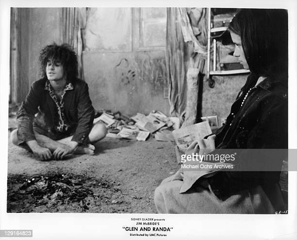 Steven Curry And Shelley Plimpton sit on floor in room in a scene from the film 'Glen And Randa' 1971