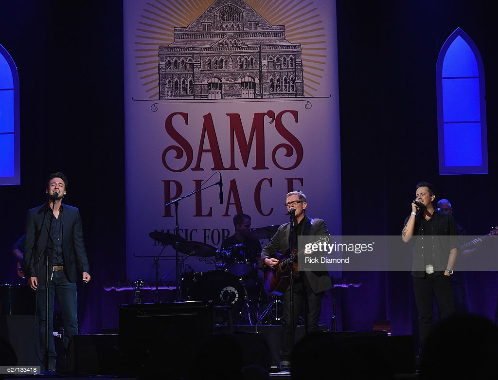 Steven Curtis Chapman (center) is joined by Stephen Baker Liles and Eric Gunderson (Love and Theft) during Sam's Place - Music For The Spirit - May 1, 2016 at Ryman Auditorium in Nashville, Tennessee.