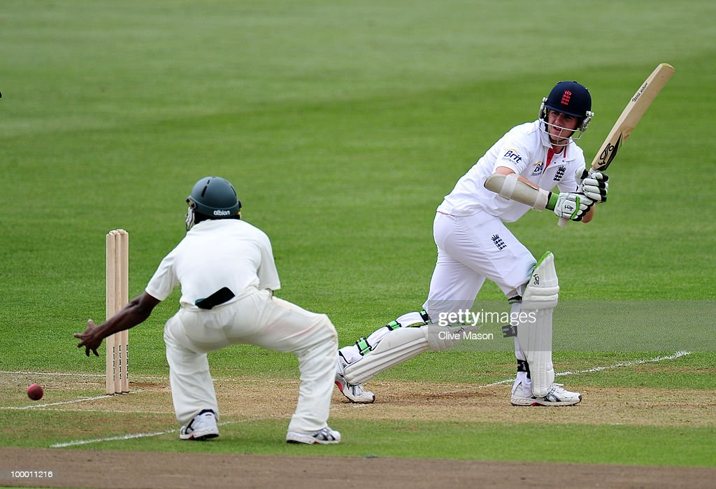 Steven Davies of England Lions in action batting during day two of the match between England Lions and Bangladesh at The County Ground on May 20, 2010 in Derby, England.