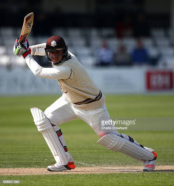 Steven Davies of Surrey hits out during day one of the friendly match between Sussex and Surrey at The BrightonandHoveJobscom County Ground on April...