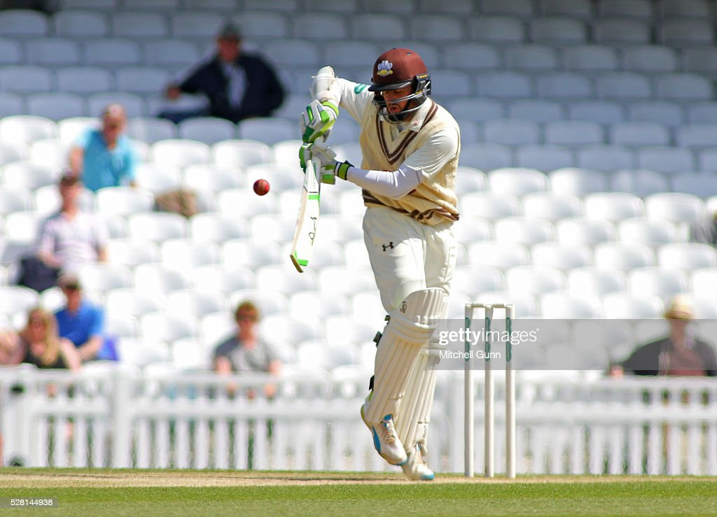 Steven Davies of Surrey plays a shot during the Specsavers County Championship Division One match between Surrey and Durham at the Kia Oval Cricket Ground, on May 04, 2016 in London, England.