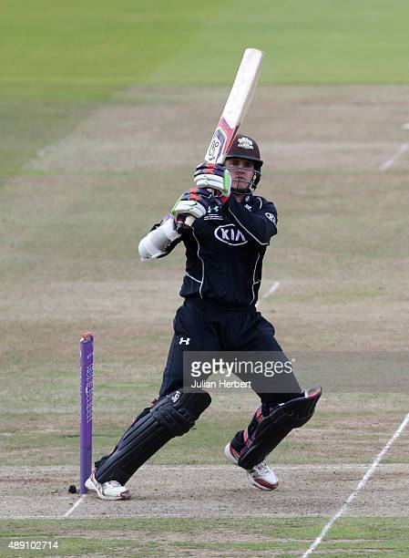 Steven Davies of Surrey scores runs during the Royal London OneDay Cup Final between Surrey and Gloustershire at Lord's Cricket Ground on September...