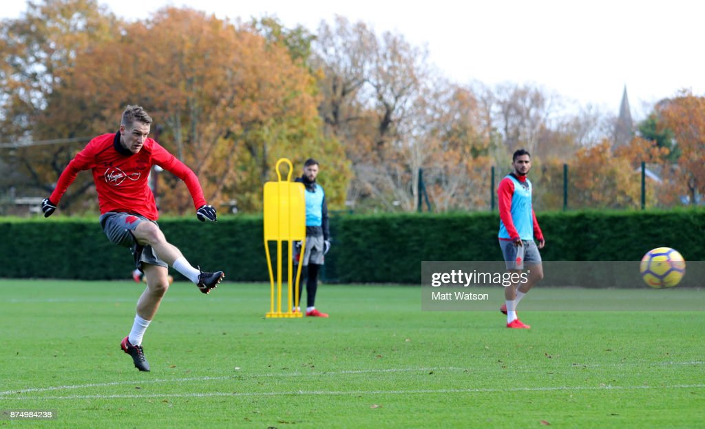 Steven Davis during a Southmpton FC training session at the Staplewood Campus on November 16, 2017 in Southampton, England.