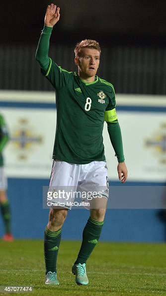 Steven Davis of Northern Ireland during the Euro 2016 Qualifier between Northern Ireland and Faroe Islands at Windsor Park on October 11 2014 in...