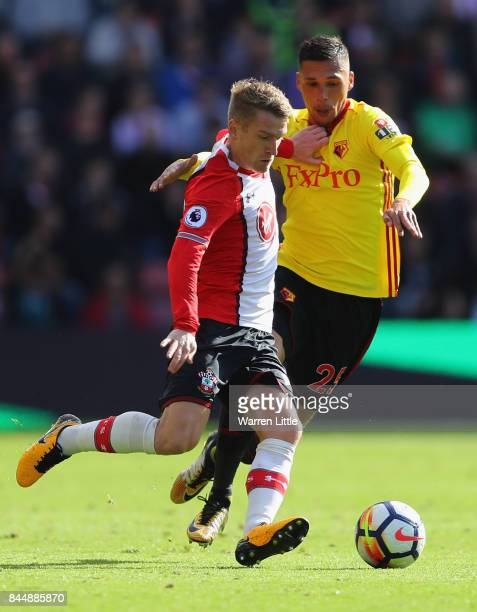 Steven Davis of Southampton and Jose Holebas of Watford in action during the Premier League match between Southampton and Watford at St Mary's...