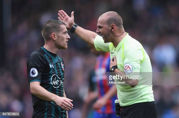 Steven Davis of Southampton argues with referee Robert Madley during the Premier League match between Crystal Palace and Southampton at Selhurst Park...