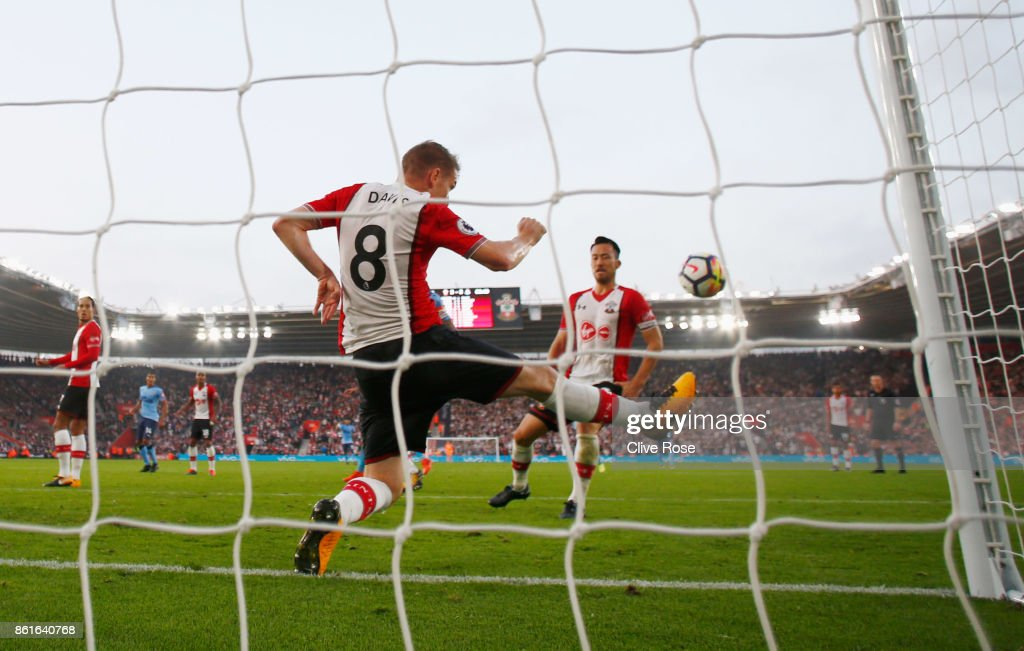 Steven Davis of Southampton (8) clears the ball from his own goal line during the Premier League match between Southampton and Newcastle United at St Mary's Stadium on October 15, 2017 in Southampton, England.