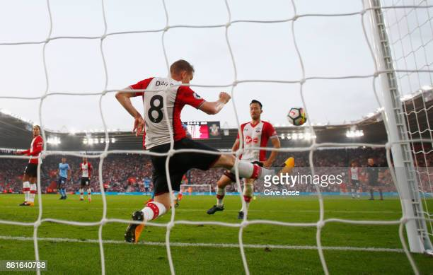 Steven Davis of Southampton clears the ball from his own goal line during the Premier League match between Southampton and Newcastle United at St...